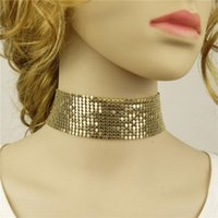 Wholesale gold metal choker collar - 4 Color Choker Necklaces Metal Paillette Choker Necklace Silver Gold Chokers Collars for Women Hip Hop Statement Jewelry Gift Drop Shipping
