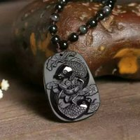 Wholesale Fish Pendant Gold Filled - Wholesale Fine Carved Scrub Black Natural Obsidian Pendant Double Fish Pendants Necklace Blessing Lucky for Men Women Crystal