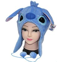 Niños Sombreros de Invierno Sombrero de dibujos animados Plush Hat Stitch Caps Muñecas de Color Azul Peluches Cosplay Winter Hat Cap