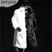 Wholesale Man Coat Fox - Fall-Luxury Winter Men Long Faux Fur Coats Warm Thick Fox Fur Jackets Plue Size M-3XL White Black Parka Coat Windbreaker Robe DITUCN
