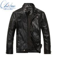 Wholesale Men Sheepskin Jacket Xl - Fall-2016 autumn new goods men's leather jacket Jaqueta COURO Masculina bomber sheepskin coats men's casual leather jacket M-XXXL