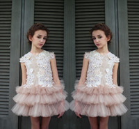 Wholesale Mini Skirts Designs - New Design Lace Top Tulle Tiered Skirt Flower Girl Dresses For Wedding 2017 Jewel Sleeveless Mini Party Dresses For Children Pageant Gowns