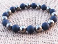 natürliche pyritsteine großhandel-SN1098 Tredy Pyrit Männer Armband Matte Black Onyx Armband Schutz Naturstein Perlen Armband Geschenke Für Ihn