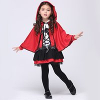 Wholesale Dotted Cloak - Girls Red cloak Devil cosplay dress 2pc sets Hooded cape+dress with dot printing ribbon bowknot kids holloween party performance clothing