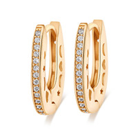 Wholesale Jewelry Star Shaped - Most fashion desing 18K Yellow Gold Plated AAA CZ Hollow Star Moon U shape Clip hoop Earrings jewelry for girls for weding party