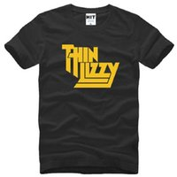 Wholesale Pop Music Top - New Designer Fashion Heavy Metal Rock Band Thin Lizzy T Shirt Men Tops Music Pop Men T-shirt Short Sleeve Cotton O-neck Tee Tops Big Size