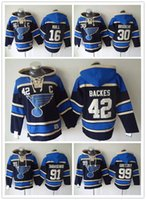 Wholesale st jacket - St Louis Blues Hockey Men Jerseys Brett Hull David Backes Martin Brodeur Tarasenko Hockey Hoodie Hooded Sweatshirt Jackets Jersey