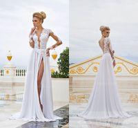 Wholesale Elegant Dresses Open Back - Formal White Lace Prom Dresses 2016 Slit Abendkleider Sexy Chiffon Long Sleeve With Open Back Dress Party Evening Elegant Vestido Formatura