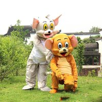 Wholesale Mouse Jerry Costume - 2018 hot sale Tom Cat and Jerry Mouse Mascot costume Fancy Dress Outfit Chirstmas Adult Size Cartoon Costume