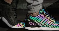 Wholesale Summer Rainbow - ZX Flux Xenopeltis Snake Reflective,Xenopeltis Snake RUN shoes sports running Rainbow Glowing shoes Size 36-44