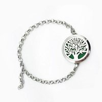 Wholesale Fish Oils - 316L Stainless Steel Aromatherapy Bracelet Tree of life Essential Oil Diffuser Magnetic Bracelets For Women Stainless Steel Jewelry