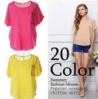 şifon bluz şeker toptan satış-Yeni Moda Kadınlar Bluzlar Kısa Kollu Casual Gömlek Şeker Renk Şifon BluzPlus Boyutu Giyim Serin Şifon Gömlek 19 renkler 1036
