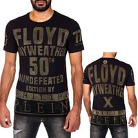 Wholesale Rhinestone Clothe Beads - 2018 New Arrivals Fashion men brand clothing Floyd Mayweather 50th victory rhinestone T-shirt male top quality 100% cotton T shirt for men