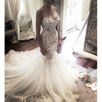 Wholesale Tulle Mid Wedding Dress - Luxury Mermaid Wedding Dresses 2017 robe de mariage Mid-East Applique vestido de noiva Princess Sweetheart Bridal Gowns