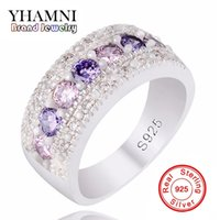 Wholesale real silver finger ring - YHAMNI Real Solid Silver Wedding Rings for Women Colorful AAA Diamond Princess Party Beautiful Finger Rings Fine Jewelry PJ147