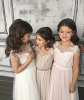 Wholesale first zipper made - Newest O-Neck A-line Flower Girls Dresses Beaded Holy First Communion Dresses Zipper Back Vestidos Comunion Girls' Pageant Dresses