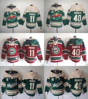 Wholesale Cheap Xxl Hoodies - NHL Minnesota Wild hoodies cheap hockey jerseys hoody Sweatshirts DUBNYK#40 PARISE#11 green red 1pcs freeshipping