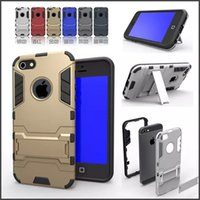 Wholesale Iphone Silicone 1pcs - Iron Man Hybrid 2 in1 Slim Tough Armor Silicone Case Stand Holder Shockproof Hard Back Cover For Iphone 5 6 6s plus samsung S5 S6 Edgd 1pcs
