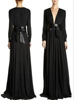 Wholesale Nude Dress Empire Waist - Modest Cheap Deep V-Neck Evening Dress Empire Waist Sheath Gown With Belt Black Chiffon Abaya  Dubai Arabic Long Sleeves Muslim Formal dress