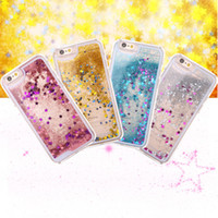Wholesale Design Skins Iphone - Gorgeous design Dynamic Liquid glitter Sand Moving Star Back Case Skin Cover Shell For iPhone 6 6S plus