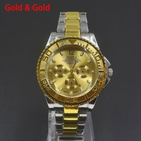 Wholesale Metal Strap Wrist Watch - Fashion Casual ROSRA men's boy's 3 dials style silver gold steel metal strap Bracelet Wrist Watch 808
