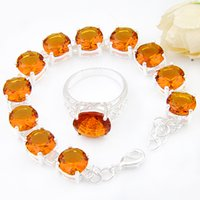 Wholesale Brazil Indians - Mix 2PCS Wholesale Wedding Gift Fire Round Fire Brazil Citrine 925 Sterling Silver Chain Bracelets Rings Jewelry Sets