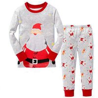 Wholesale Wholesale Kid S Pajamas - Kids Xmas printing homewear 2pc sets long sleeve Santa print T shirt+ELK pants boys girls Kids Xmas printing homewear 2pc sets long sleeve S