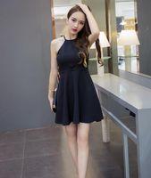 Wholesale Summer Dresses Fashion S Size - 2016 Summer Fashion Women Elegant Party Evening Sleeveless Casual Dress Black Off The Shoulder Grey Cotton Dress Size S-XL