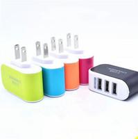 adaptateur de voyage de mûre achat en gros de-US EU Plug 3 USB Chargeurs Muraux 5V 3.1A Adaptateur LED Voyage Pratique Adaptateur secteur avec triple Ports USB Pour Téléphone Mobile