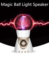 Wholesale Magic Card Lamp - Bluetooth speaker Magic Crytal ball Bluetooth speaker Magic Music wireless portable Plasma Ball Fantastic Flashing ball with flash lamp