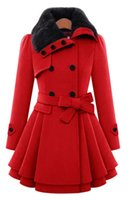 Wholesale The new European and American women in the long section of self cultivation woolen coat double breasted thicker coat