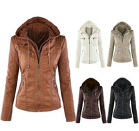 Wholesale Leather Hoodie Women - 2017 plus size fashion womens jacket PU faux leather coat winter hoodies outwear ladies coats hooded blouses for women winter jackets