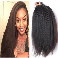 cabelo mix afro brasileiro venda por atacado-9A Brasileira Yaki Extensões de Cabelo Humano Grosso Virgem Afro Kinky Em Linha Reta Italiano Yaki Cabelo Trama Tecer 3 Pcs Lot Mix Comprimento Livre grátis