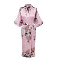 Wholesale pink nightgown sale online - Hot Sale Pink Chinese Female Satin Robe Printed Floral Kimono Yukata Summer Casual Nightgown Pijama Size S M L XL XXL XXXL A