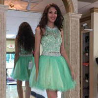 Compra Vestito Da Cocktail Verde Del Sequin-Cristalli scintilla verde Sequins in rilievo Prom Dress Due Pezzi gioiello abito da cocktail senza maniche breve mini vestito Homecoming