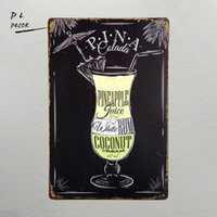 DL- Cocktail Pina Colada Piatto Chic Sign Bar Shop Cafe Home Kitchen Decor