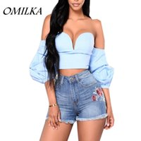 Wholesale Padded Puffed Shoulders - OMILKA 2017 Summer Women Puff Sleeve Off the Shoulder Beach Crop Tops Casual Black White Blue Strapless Short Tops with Pad