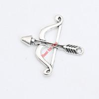 arco de plata collar de flecha al por mayor-Chapado en plata antigua arco flecha encantos colgante pulsera collar de la joyería que hace diy hecho a mano 25x25 mm