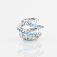 Wholesale Aquamarine European Charm - Silver Beads Fit European Pandora Charm Bracelet DIY Jewelry 925 Sterling Silver Original Beads Aquamarine Stone Hollow Charm Women Jewelry