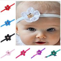 Wholesale Hair Satin Ribbon Flower Head - Wholesale Europe America Children Hair Band Satin Ribbon Flower Head Thin Elastic Hair Band Baby Headwear 10 Colors