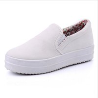 Wholesale Shoe Inside - 2017 Platform Canvas Shoes Woman Spring Slip On Flats Casual Ladies Loafers Solid Creepers Floral Inside Women Shoes