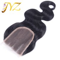 4 bleach bodies - Cheap x4 Brazilian Virgin Body Wave Human Hair Top Lace Closures Pieces With Bleached Knots Free Middle three Part Stock