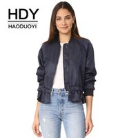 Compra Cappotto In Orlo Increspato-HDY Haoduoyi Autunno Donne Giacca Sweet Ruffle Frill Hem Short Crop Giubbotti Baseball Coat Solid Female Navy Moda Cappotti Outwear q1109