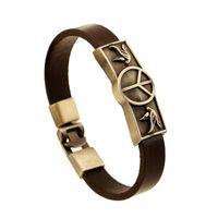 Wholesale Tin Signs China - Fashion Minimalist generous sportsman Buckle Identificatio Leather bracelets for men Retro Peace sign charm leather belt bracelet jewelry