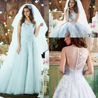 Wholesale Vintage Pretty Bridal - 2017 Pretty Country Ice Blue Wedding Dresses with Embroidery Beaded Appliques Lace Sheer Illusion Button Back Bridal Gowns