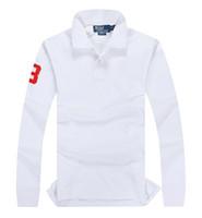 Wholesale Men Word - Ralph high quality Polo shirt lauren horse logo 100% cotton men long-sleeve shirt designer crocodile brand Polo classic 3 word embroidery