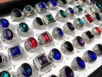 ingrosso pietre preziose d'epoca-L'anello d'argento antico del lotto della miscela all'ingrosso 50pcs affila l'anello di diserbo dell'anello dei monili della pietra preziosa dell'annata delle donne degli uomini che libera lo stile casuale di trasporto