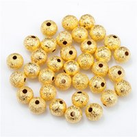 Wholesale European Bead Stardust - Gold Plated Stardust Copper Ball Spacer Beads 3 4 5 6 8 10mm Fit European Charms DIY Bracelets Making