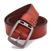 Wholesale Mens Leather Cowboy - 100% cowhide genuine leather belts for men brand male pin buckle jeans cowboy Mens Belts Luxury Leather Designer High Quality