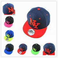 Wholesale Ny Black Hip Hop Cap - New Arrival NY Kids Snapback Cartoon Embroidery Cotton Baseball Cap Boys&Girls Snapback Caps Hip Hop Hats
